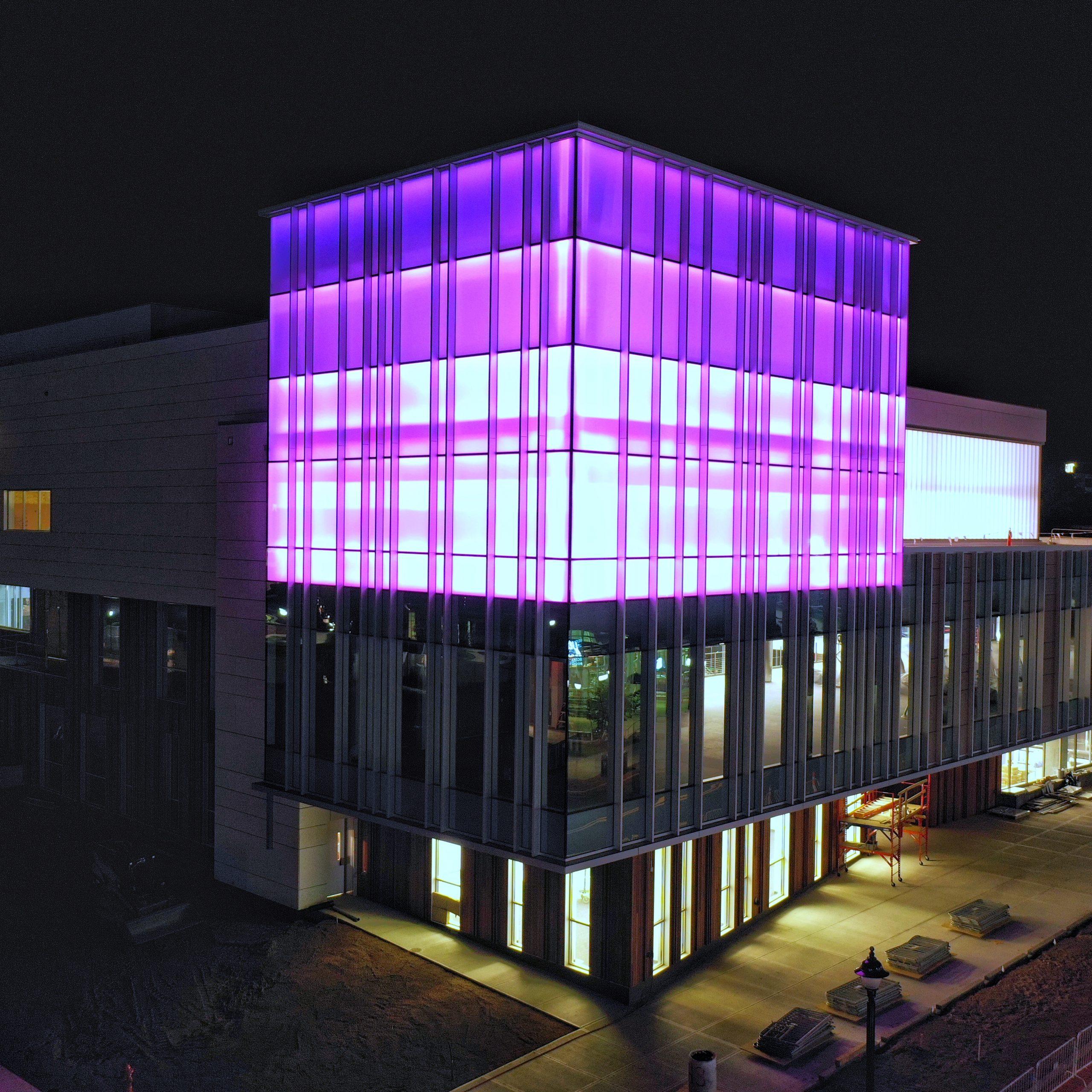 rec tower purple lights