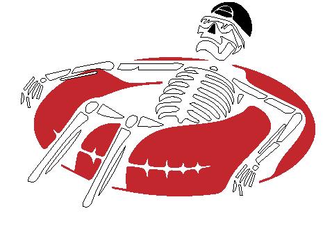 skeleton floating